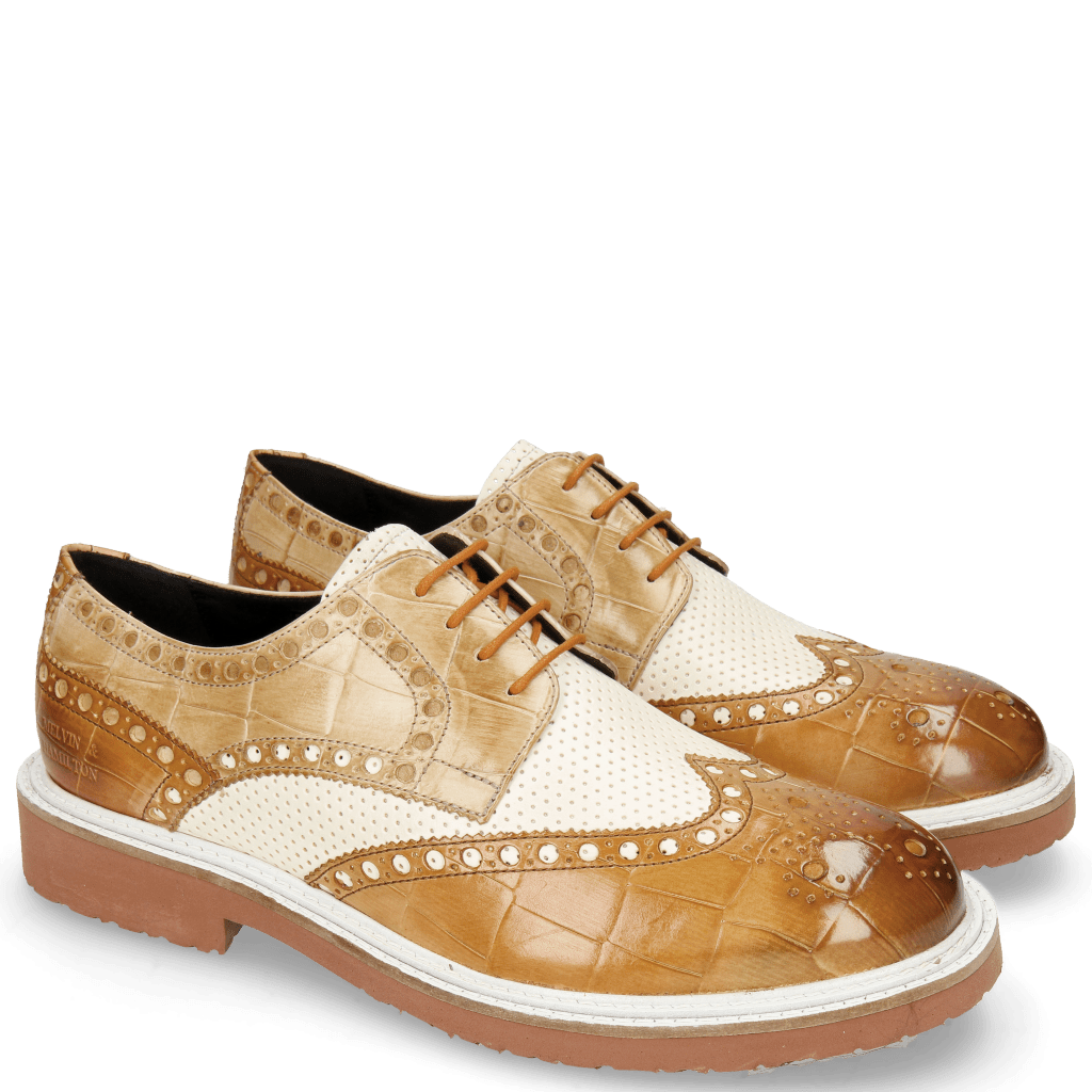 Derby shoes Blake 1 Vegas Turtle Tan Perfo White Sand