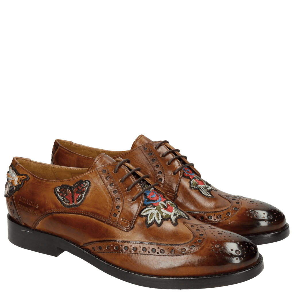 Derby shoes Amelie 46 Wood Embroidery