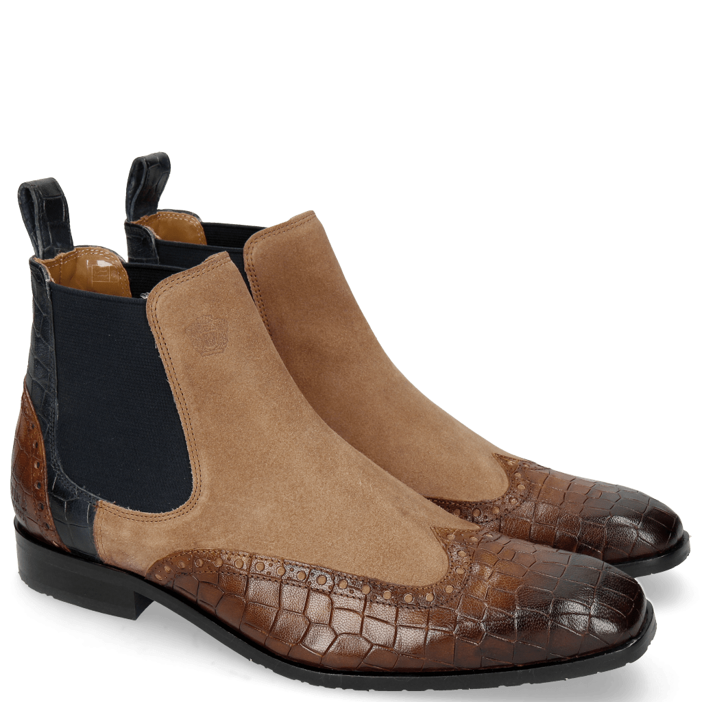 Ankle boots Rico 12 Venice Crock Mid Brown Navy Suede Pattini Perfo Cognac