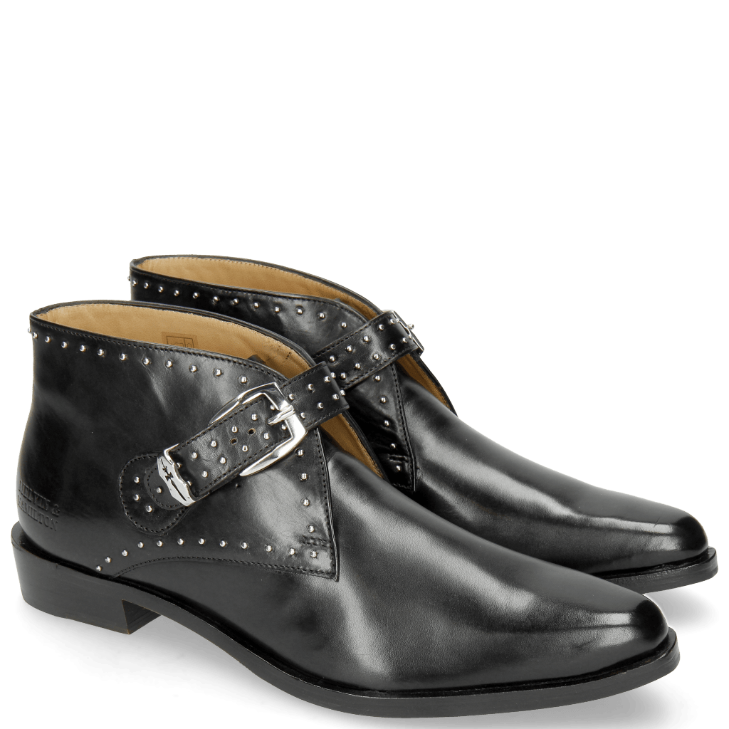Ankle boots Marlin 33 Black Rivets Nickel Sword Buckle