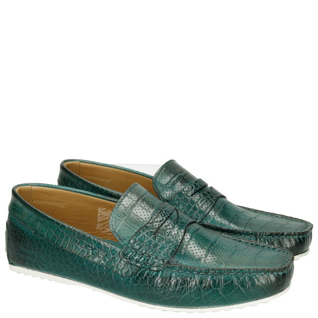 Loafers Driver 8 Big Croco Perfo Turquoise