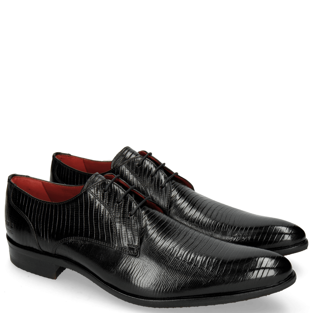Derby shoes Toni 1 Lizzard Black Lining Red