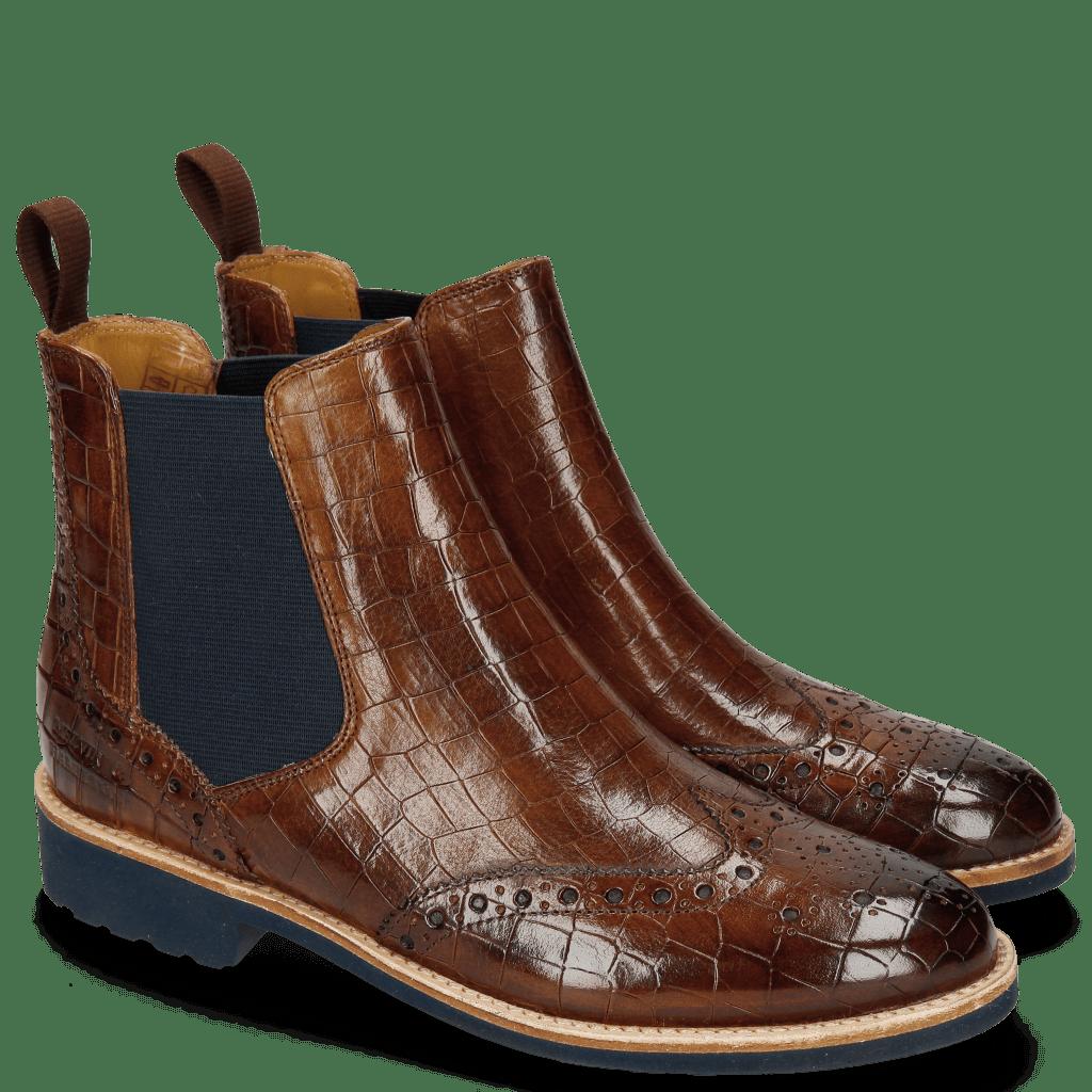 Ankle boots Selina 6 Crock Wood Elastic Navy