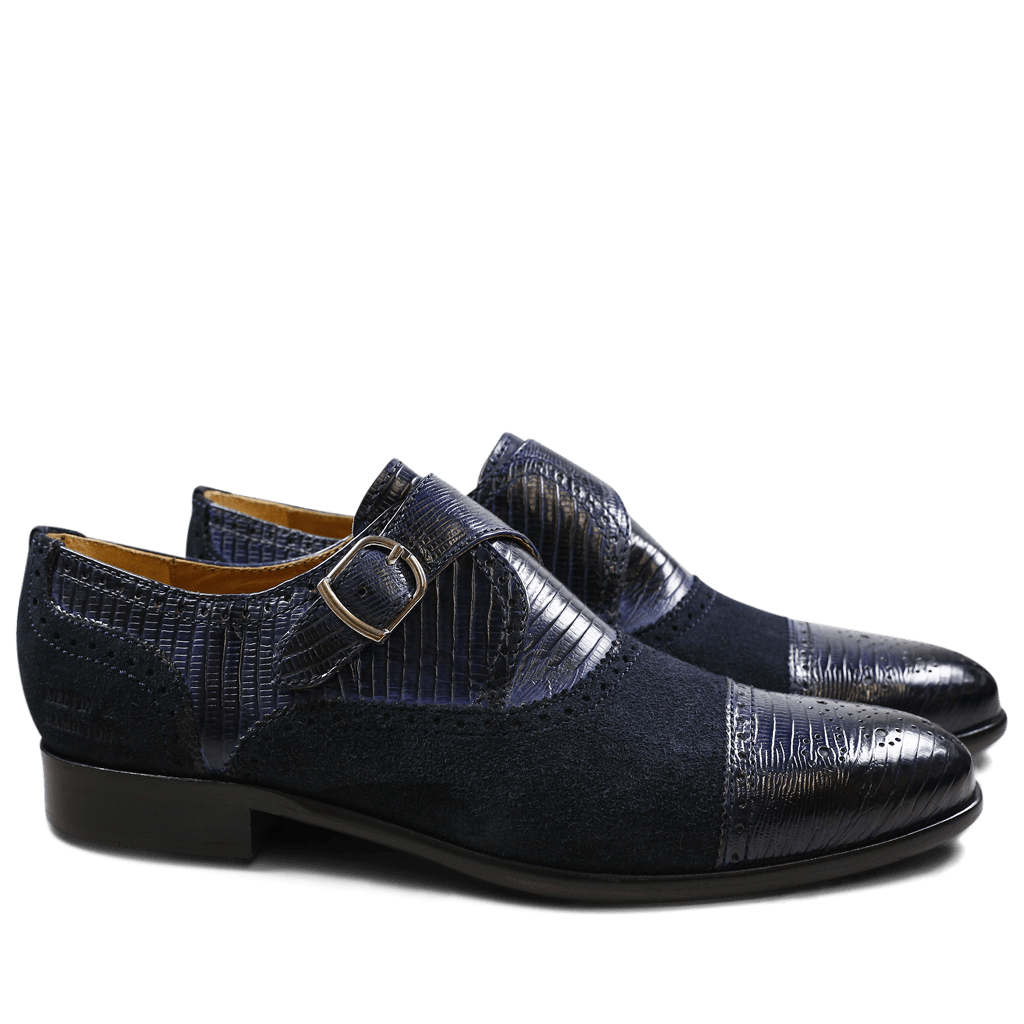 Monks Henry 11 Guana Suede Navy Navy HRS