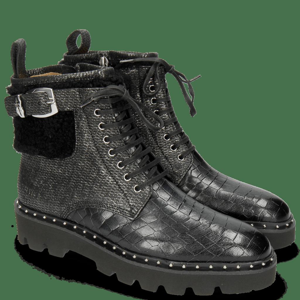 Ankle boots Susan 66 Crock Petrol Barrow Metal Sherling Black Sword Buckle