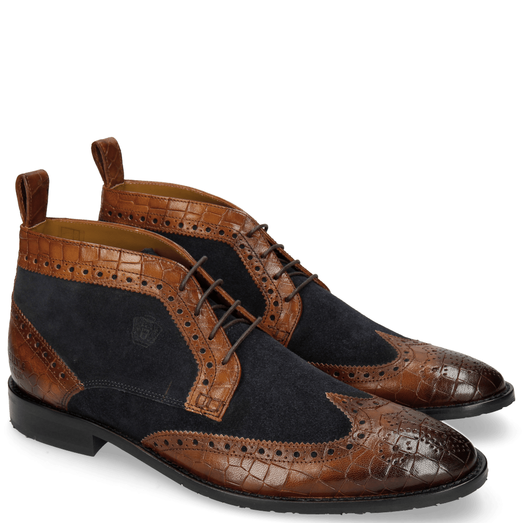 Ankle boots Victor 7 Venice Crock Mid Brown Suede Pattini Navy