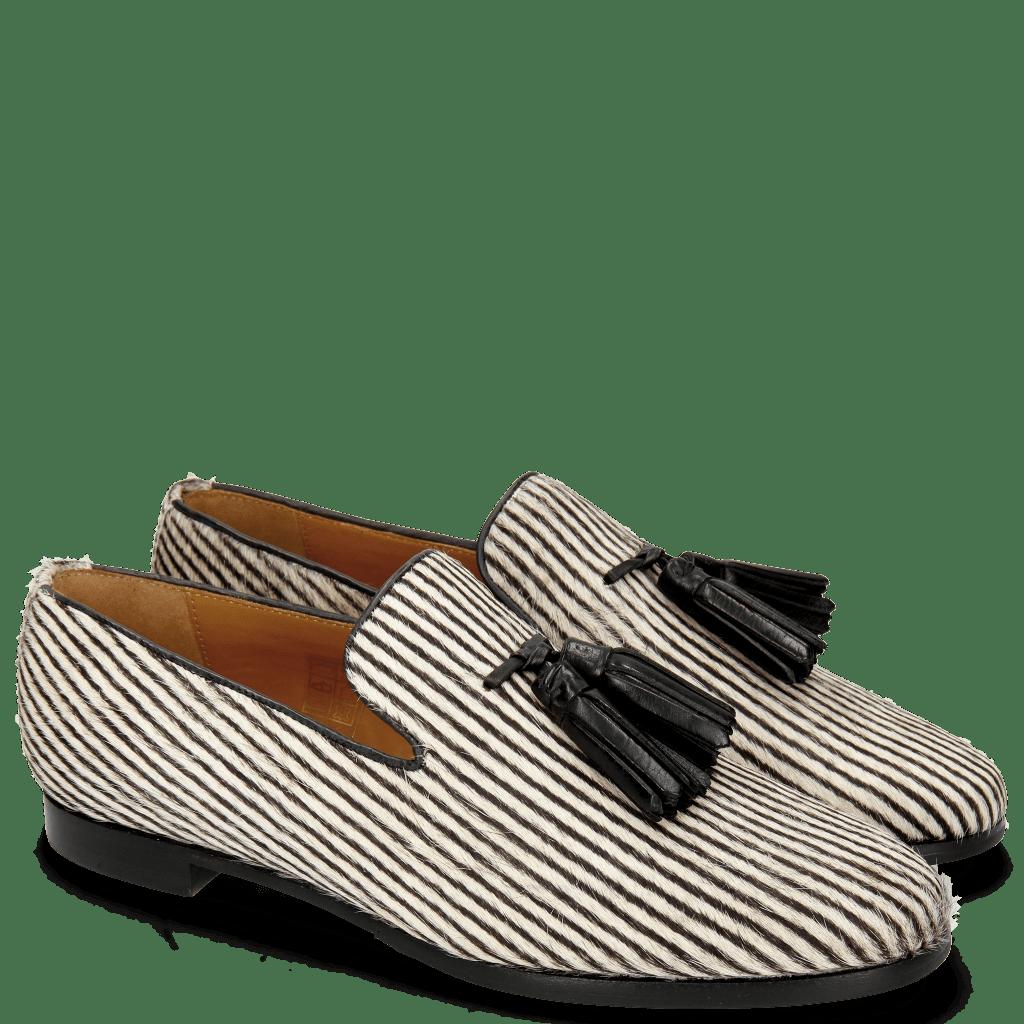 Loafers Scarlett 20 Hairon Stripes Black White