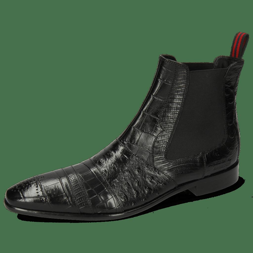 Ankle boots Elvis 12 Big Croco Lizzard Crock Ostrich Black