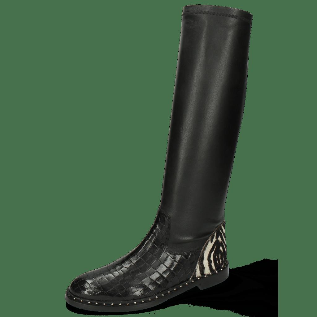 Boots Susan 79 Crock London Fog Stretch Nappa Black Hairon New Zebra