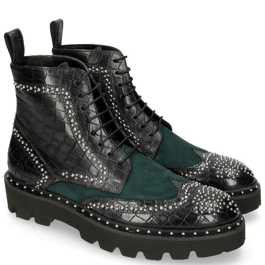 Ankle boots Sally 120 Crock Petrol Chelina Suede Rivets