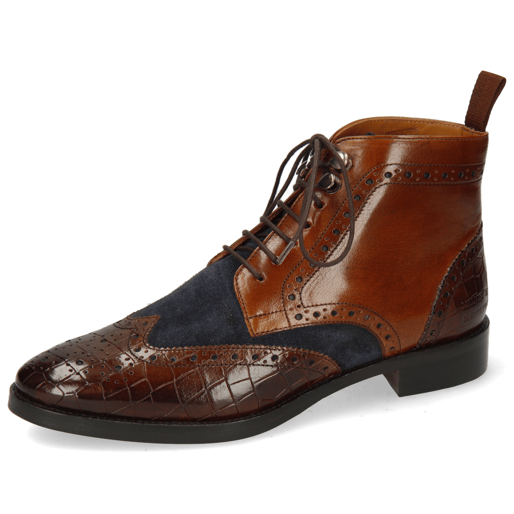 Ankle boots Betty 13 Crock Mid Brown Suede Pattini Navy Wood