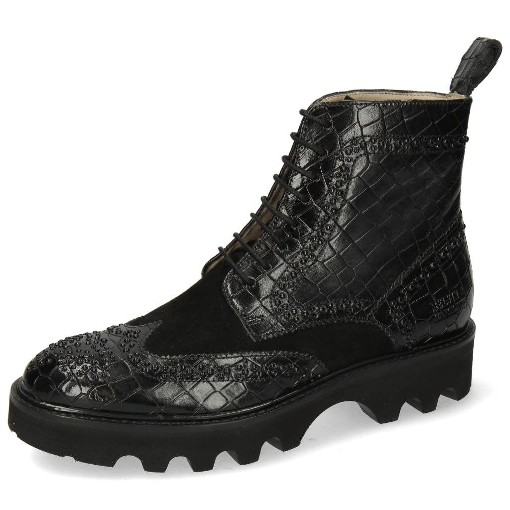 Ankle boots Sally 120 Crock Oily Suede Black Rivets