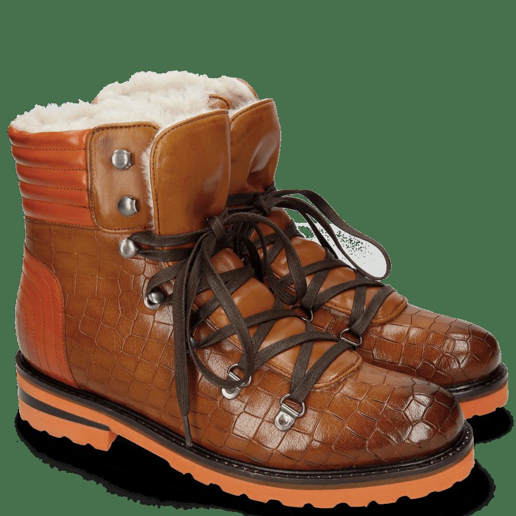 Ankle boots Bonnie 10 Crock Wood Winter Orange Full Fur