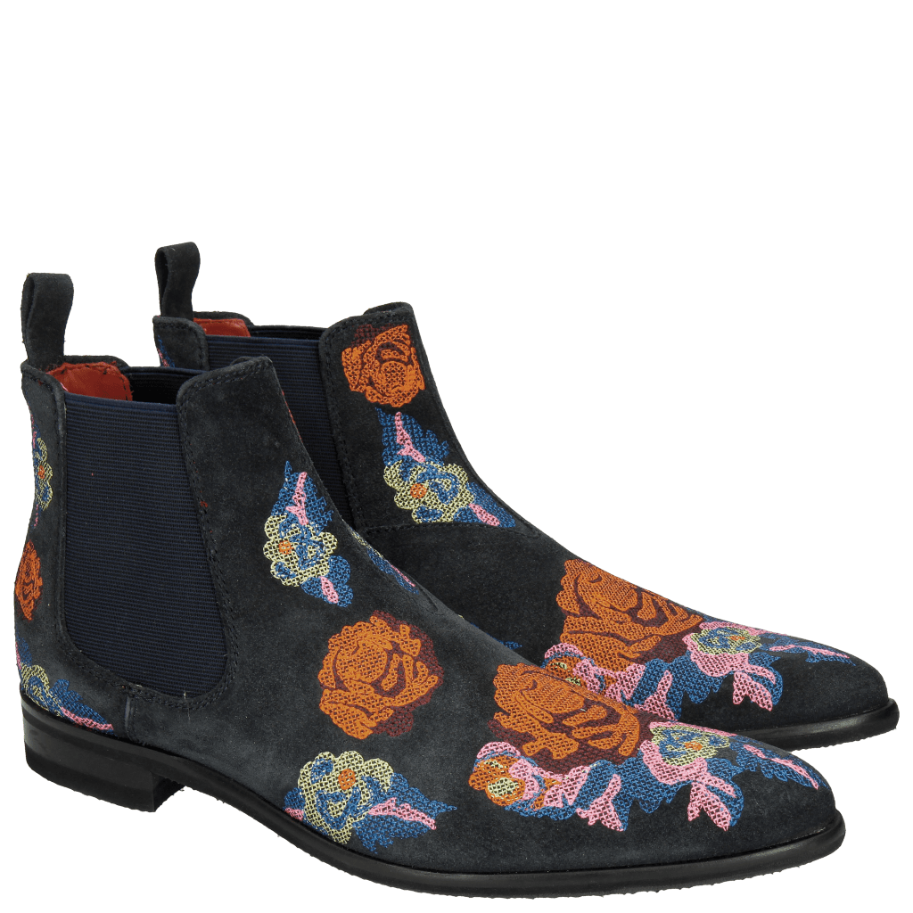 Ankle boots Toni 7 Suede Navy Embroidery Orange Blue Multi Modica Dark Grey