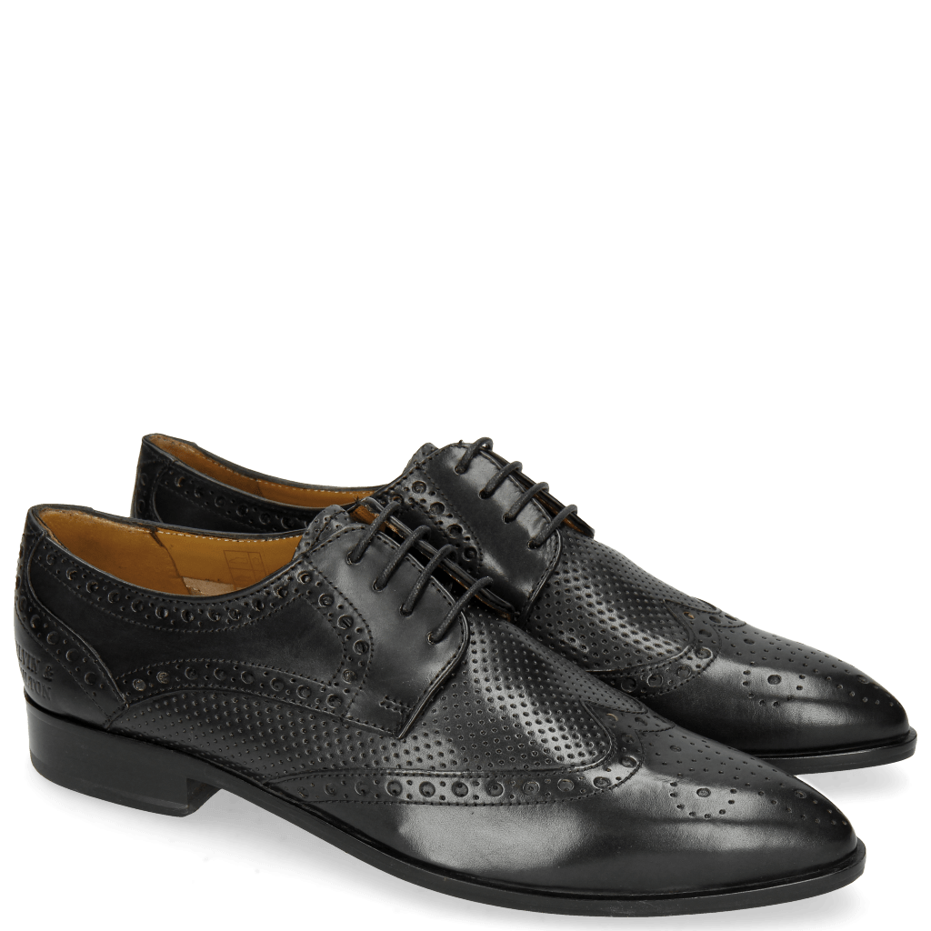 Derby shoes Jessy 6 Perfo Black Rich Tan Collar