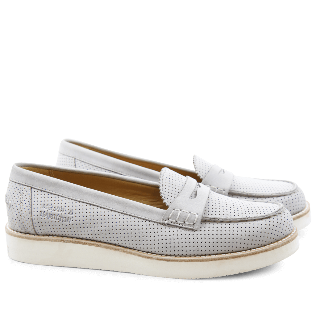 Loafers Bea 1 Elko Perfo Light Grey XL Malden White
