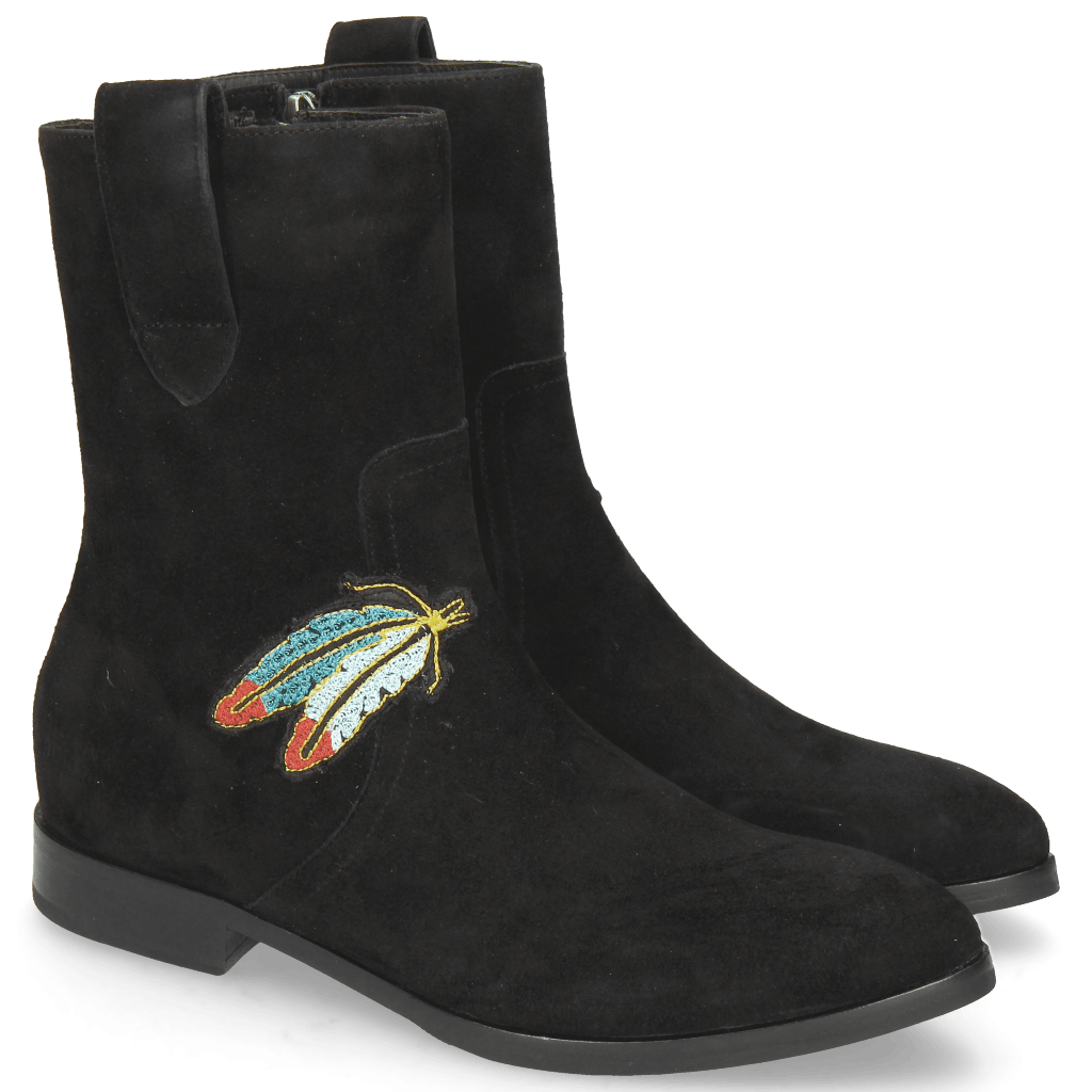 Ankle boots Jessy 29 Oily Suede Black Embrodery Feather