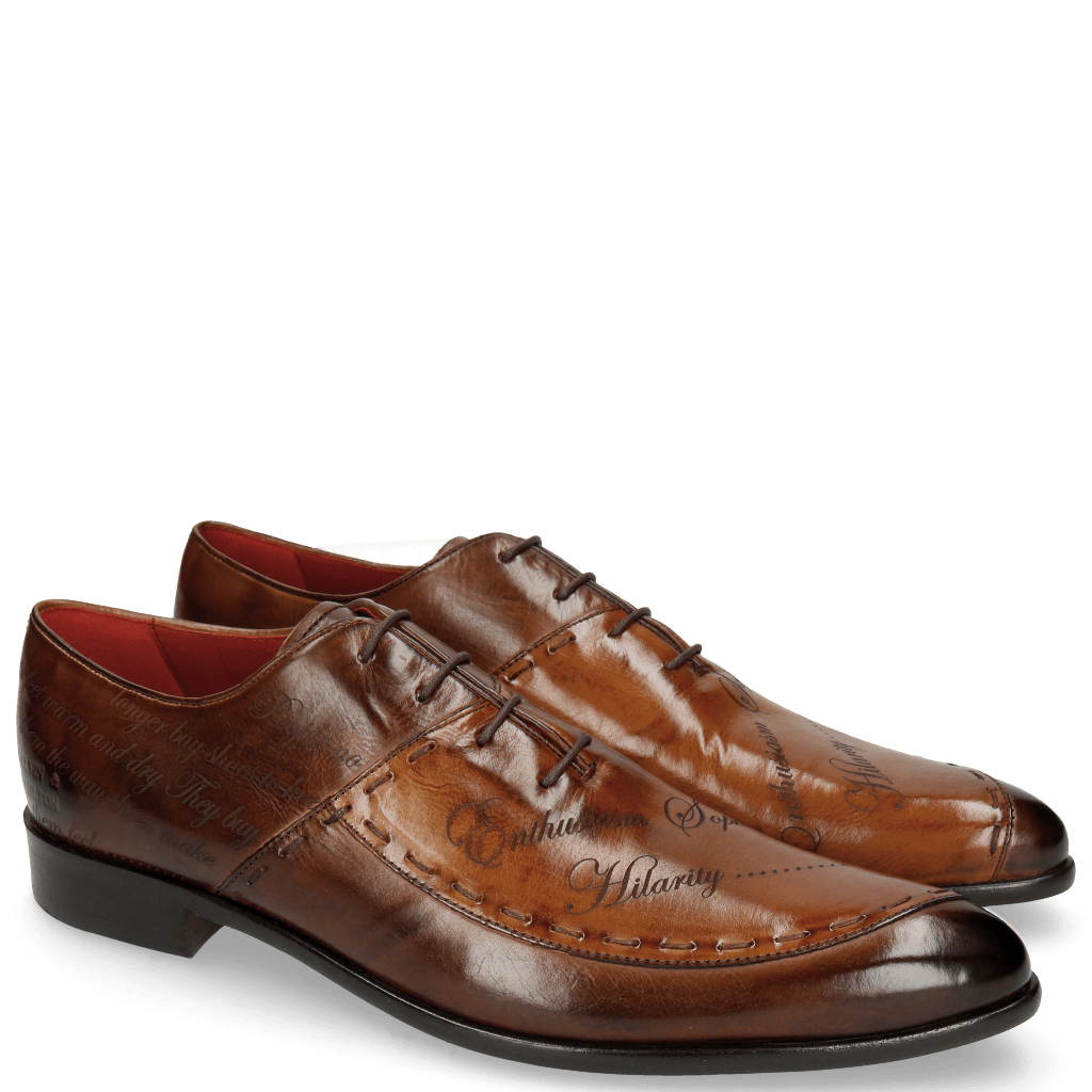 Oxford shoes Toni 15 Mid Brown Wood Lasercut LS Red