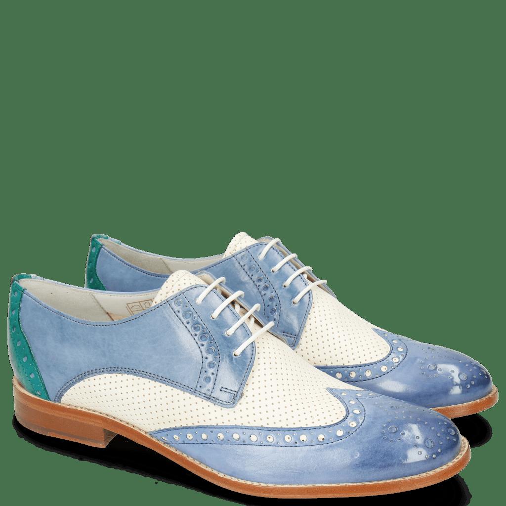 Derby shoes Amelie 3 Vegas Neptune Blue Perfo White Wind Onda