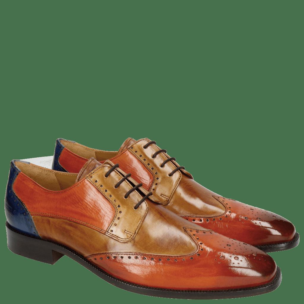Derby shoes Jeff 14 Orange Tan Sand Orange Electric Blue