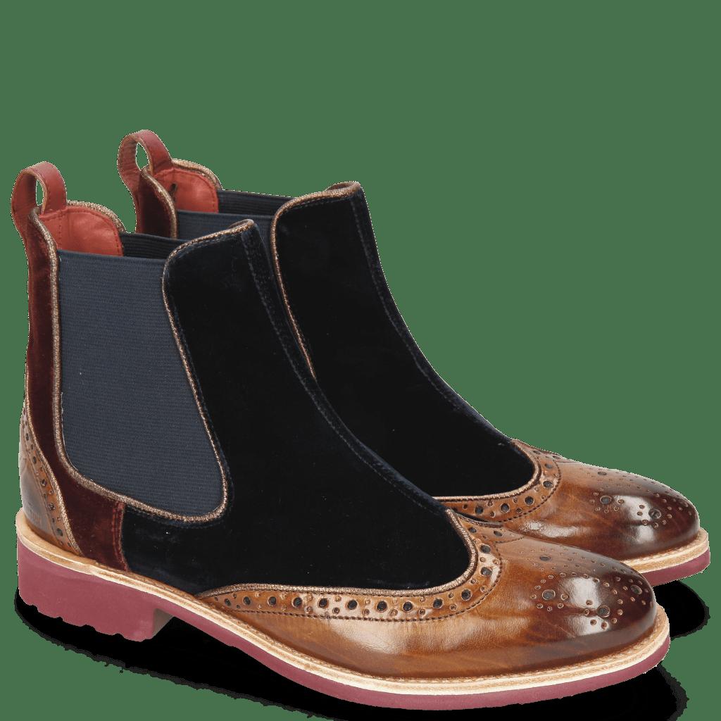 Ankle boots Amelie 43 Velluto Tan Midnight Wine Binding Nappa Aztek Bronze