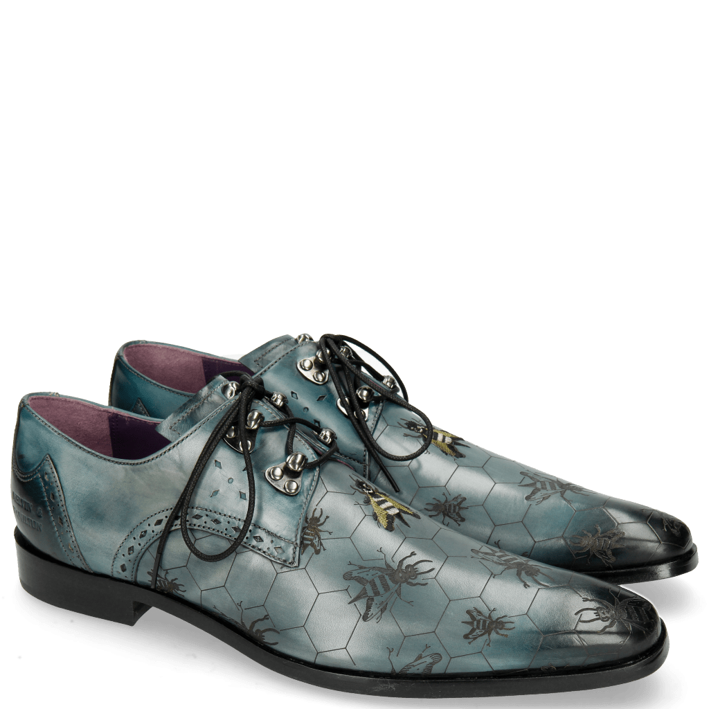 Derby shoes Elvis 42 Glicine Embroidery Bee