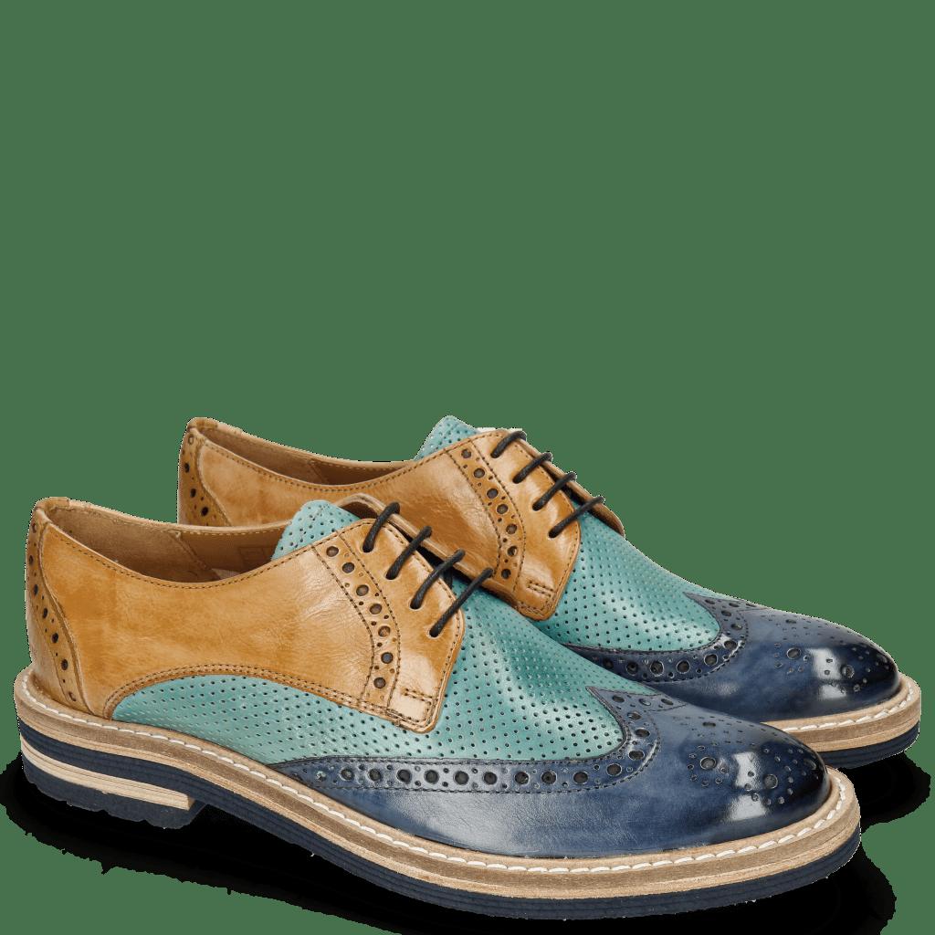 Derby shoes Amelie 3 Pisa Wind Perfo Mermaid Mastic Olivine Aspen Navy