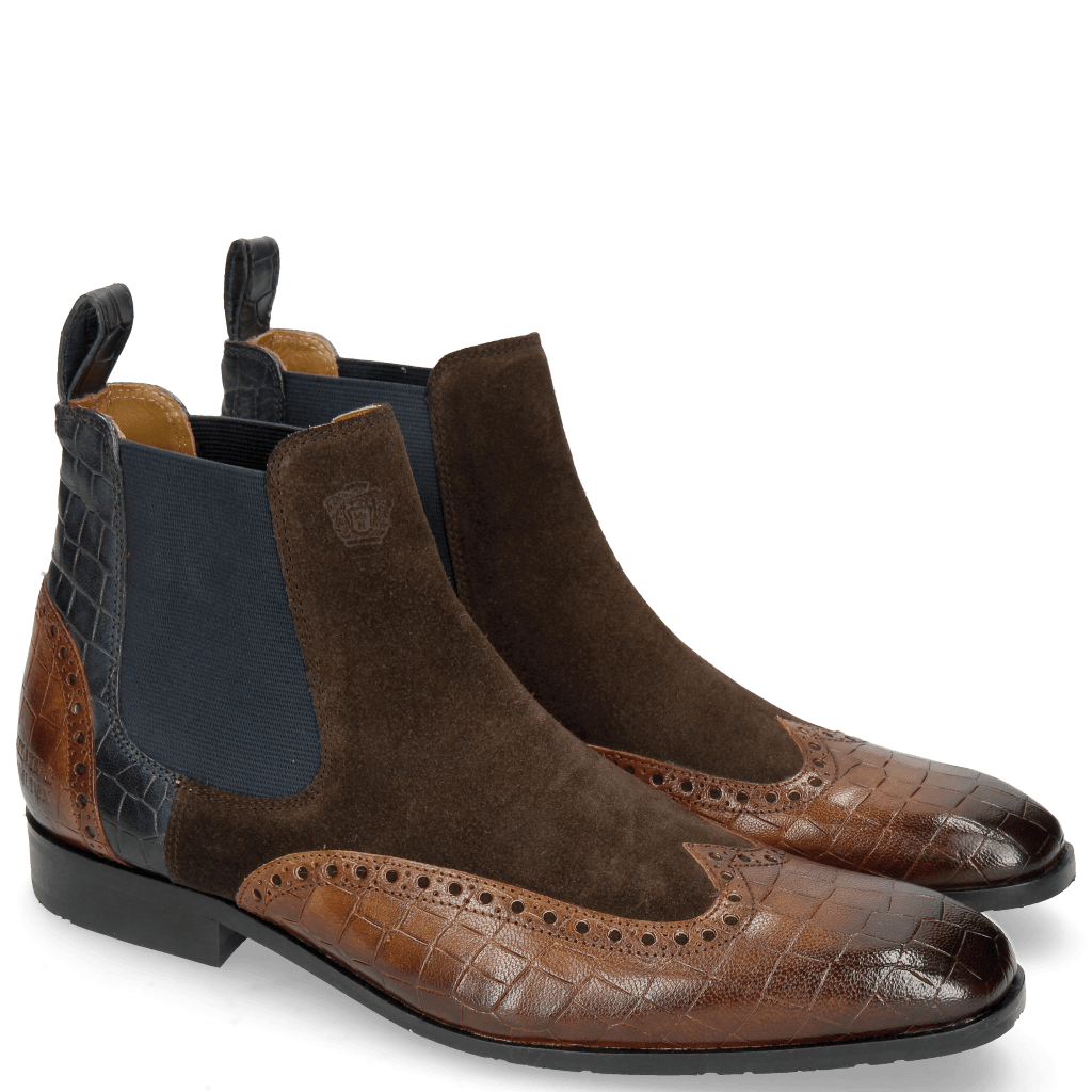 Ankle boots Rico 12 Venice Crock Mid Brown Suede Pattini Dark Brown Venice Crock Navy