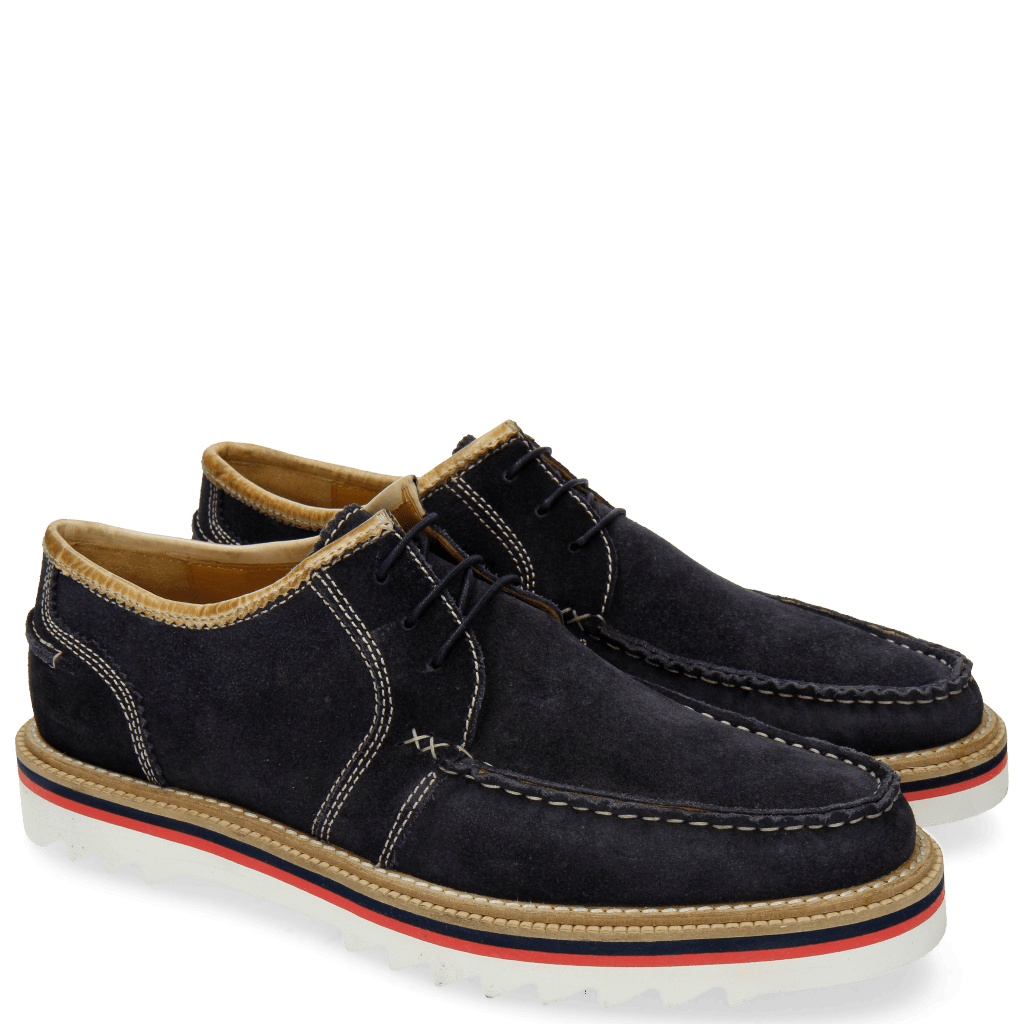 Derby shoes Jack 12 Suede Pattini Navy Binding