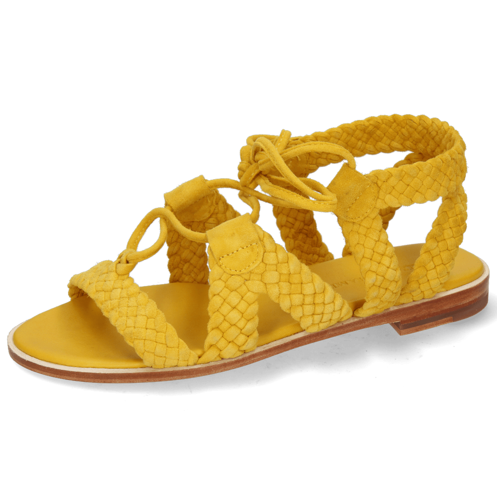 Sandals Sandra 11 Suede Chilena Woven Yellow Footbed
