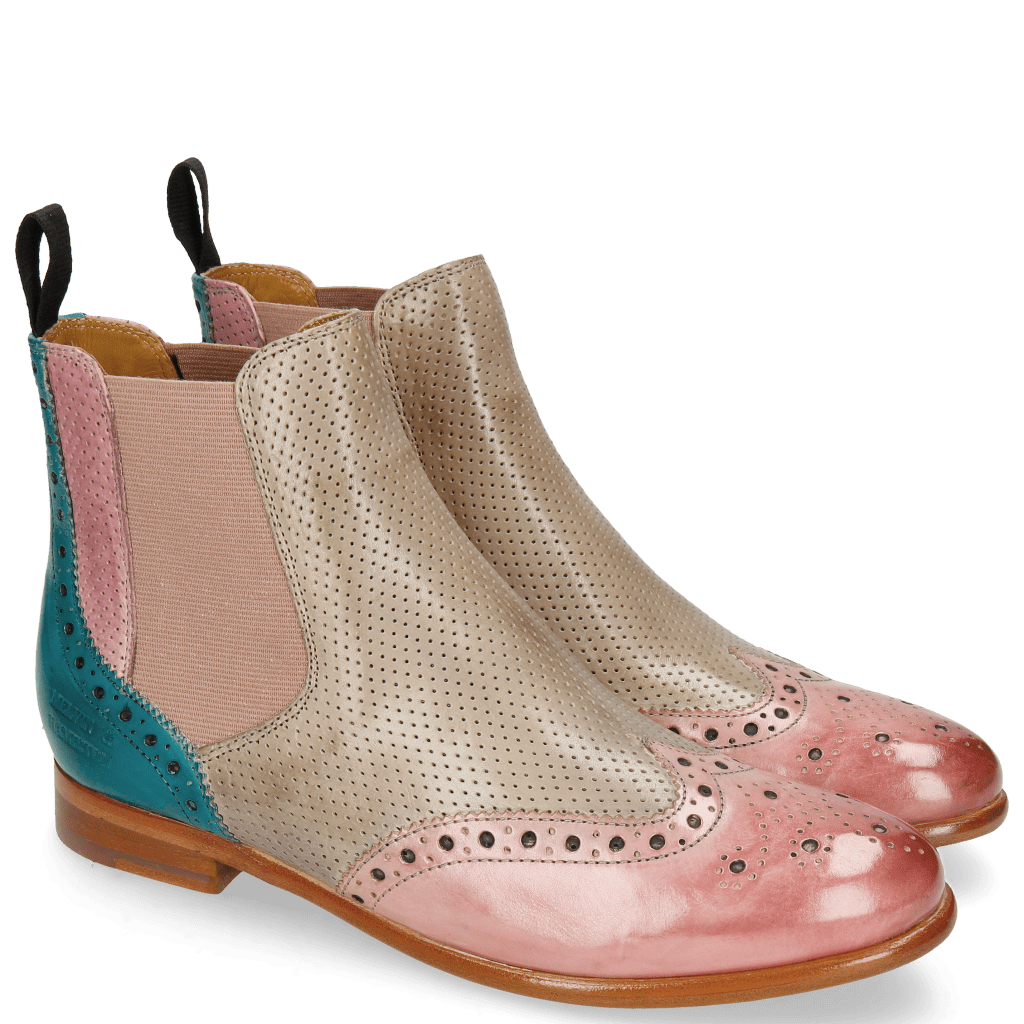 Ankle boots Selina 6 Pisa Skin Lilac Turquoise Perfo Digital