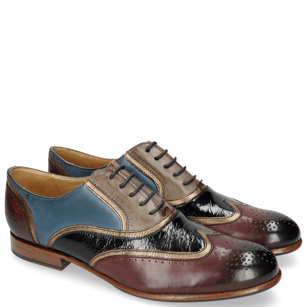 Oxford shoes Sally 38 Burgundy Stone Mid Blue Nappa Aztek Bronze
