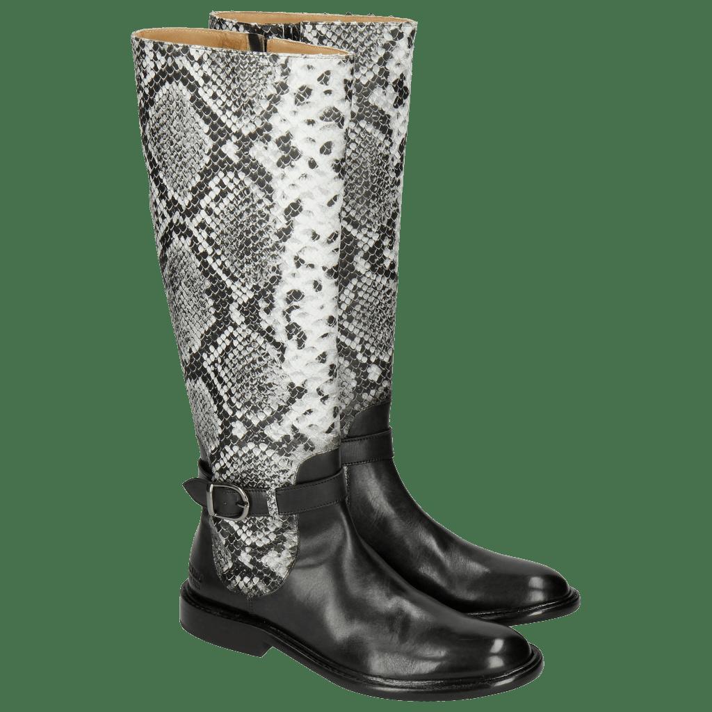 Boots Sally 58 Snake Nappa Grain Black Strap