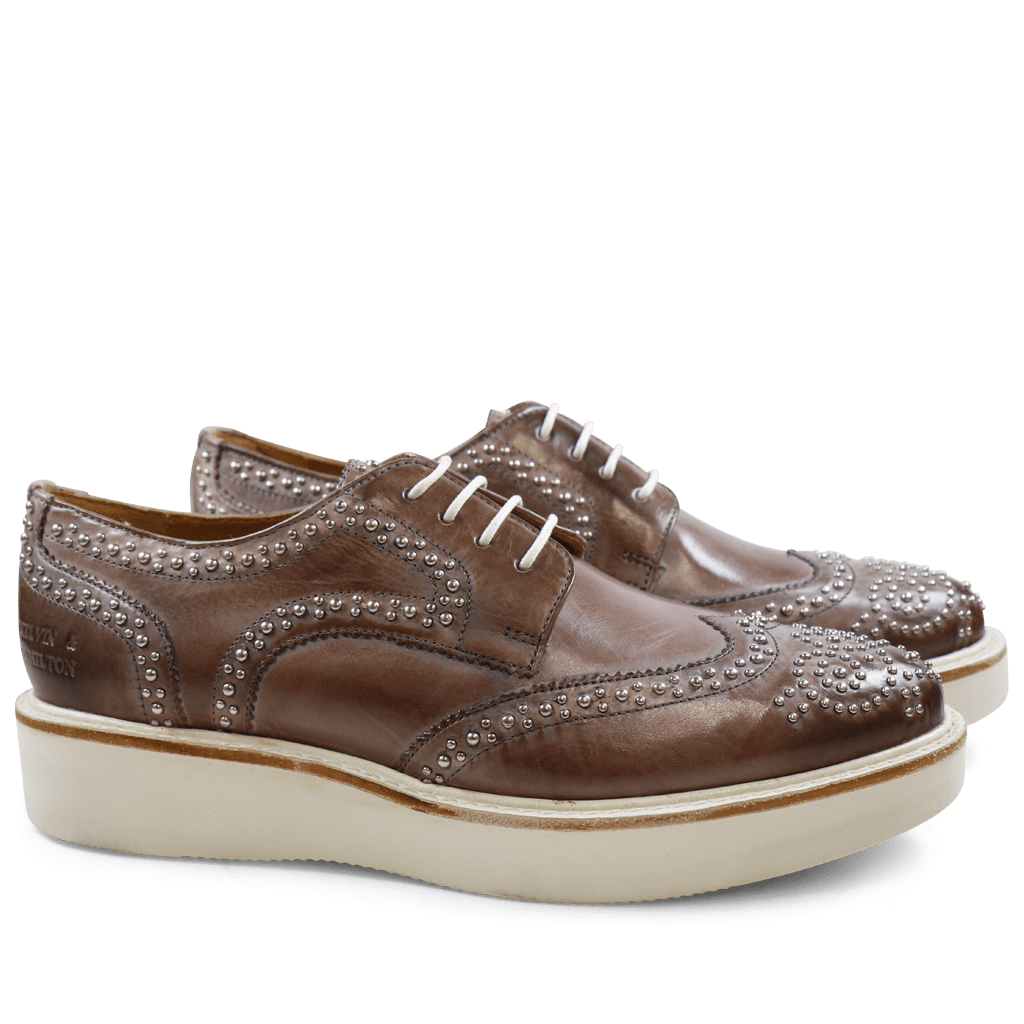 Derby shoes Molly 1 Crust Pale Lila Rivets XL Ginger White