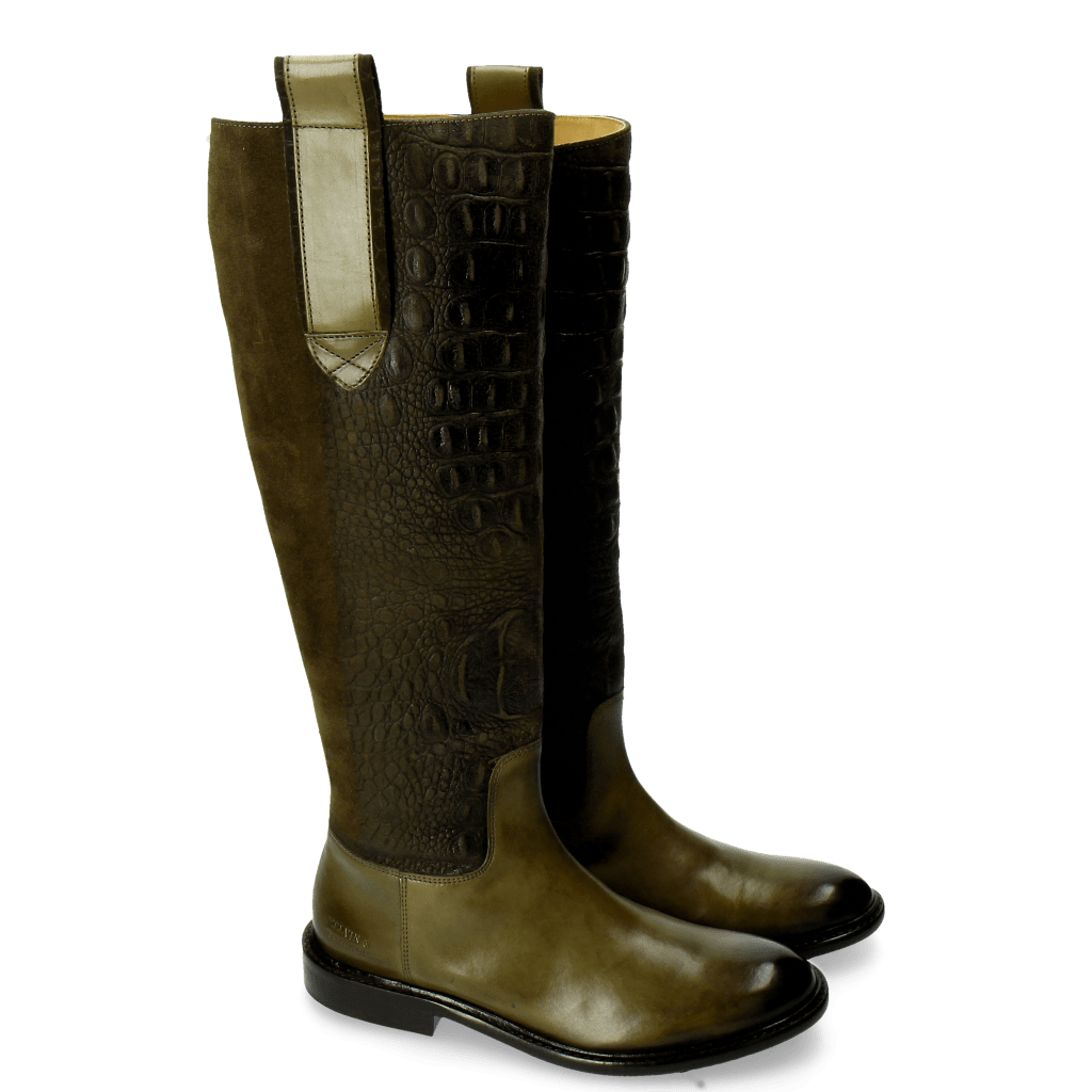 Boots Sally 63 Croco Suede Bosco Olive Strap Bosco New HRS Thick