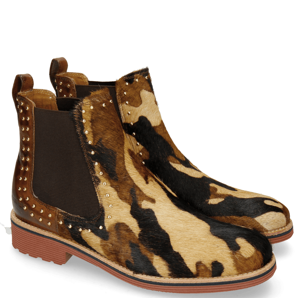 Ankle boots Amelie 12 Hairon Camo Wood Back Rivets