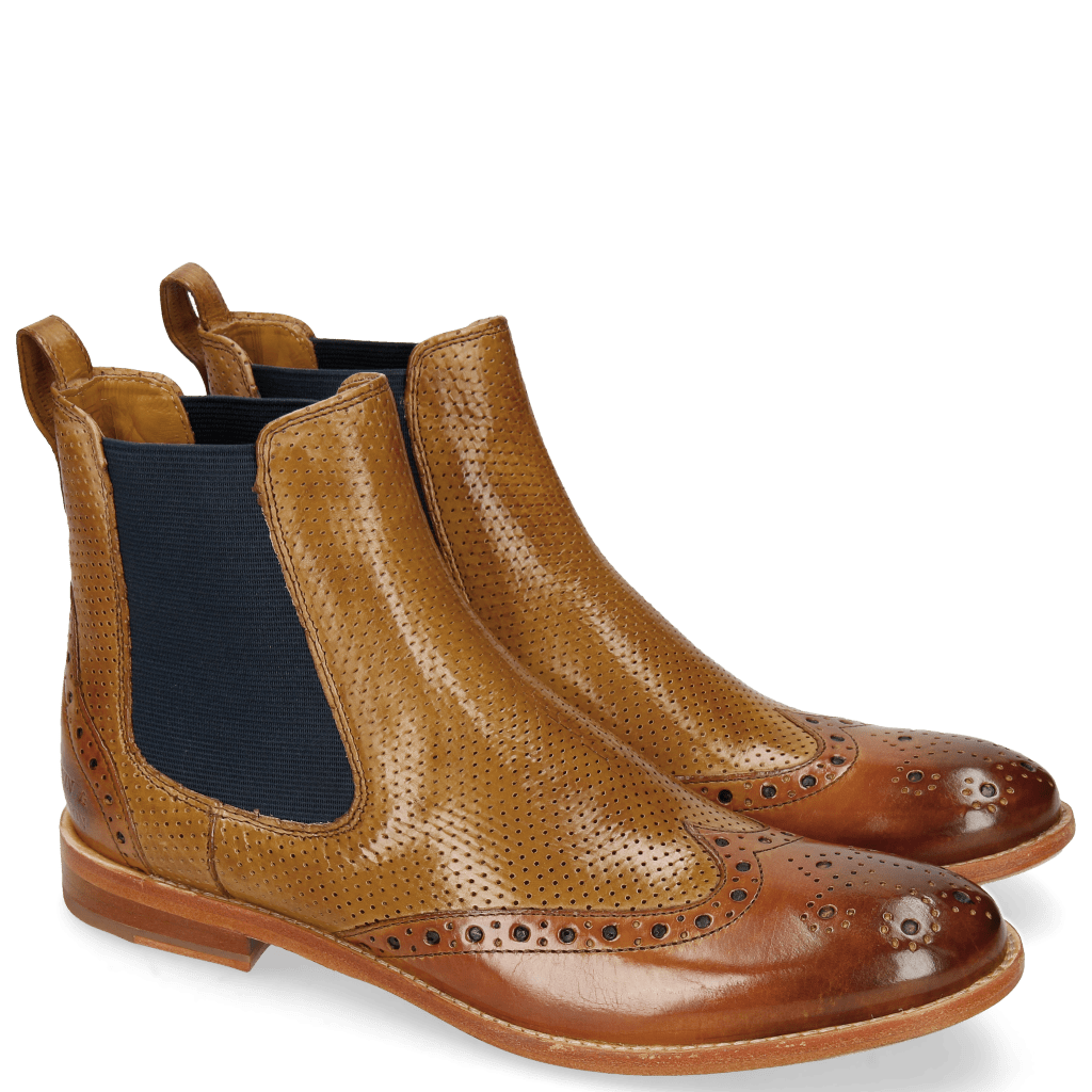Ankle boots Amelie 5 Tan Perfo Sand Elastic Navy