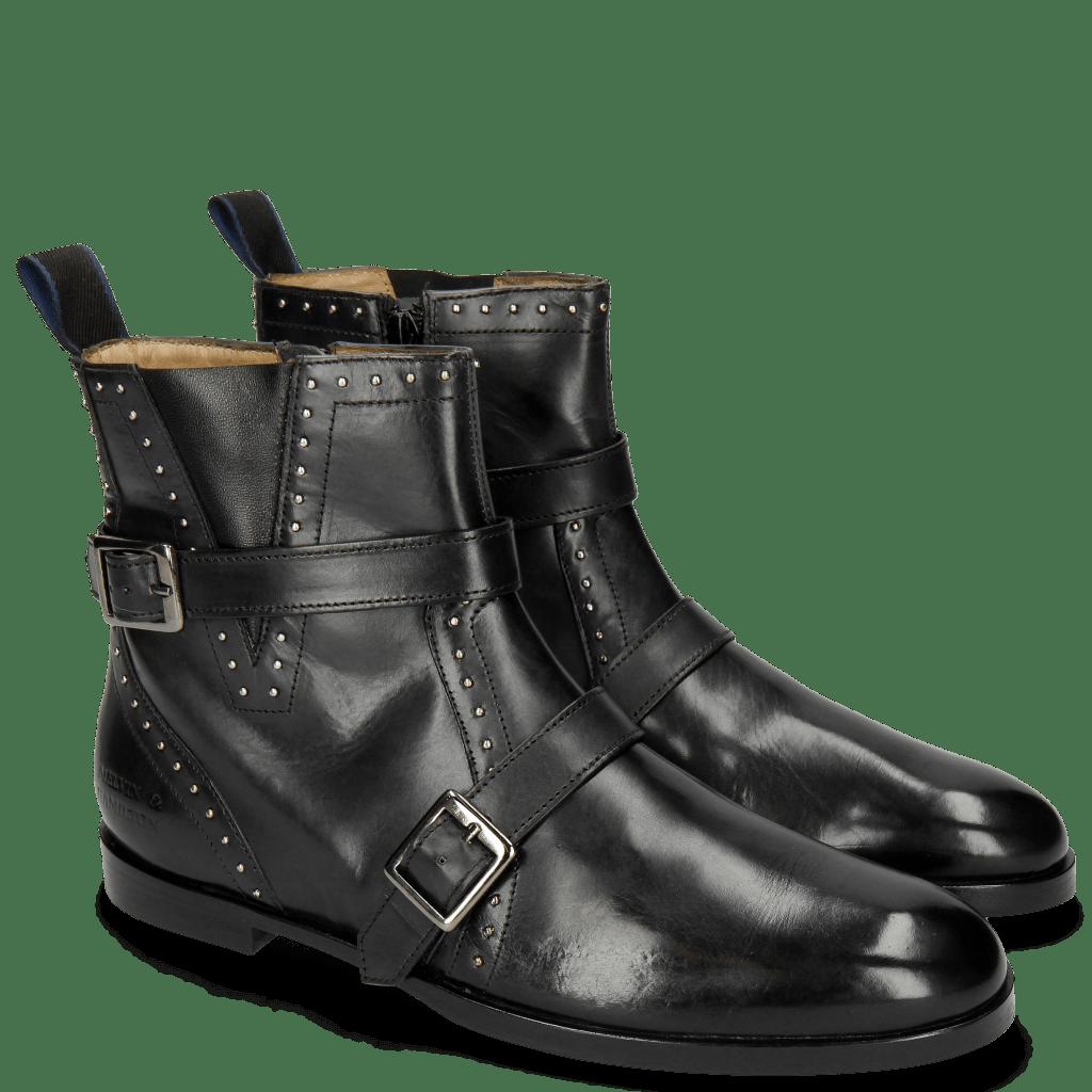 Ankle boots Susan 54 Black Nappa Black Straps Rivets
