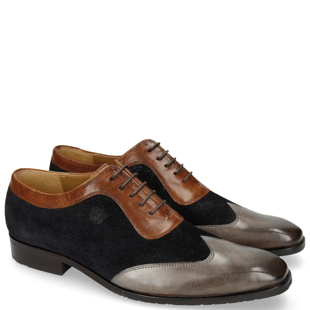 Oxford shoes Rico 8 Stone Suede Patinni Navy Rio Mid Brown