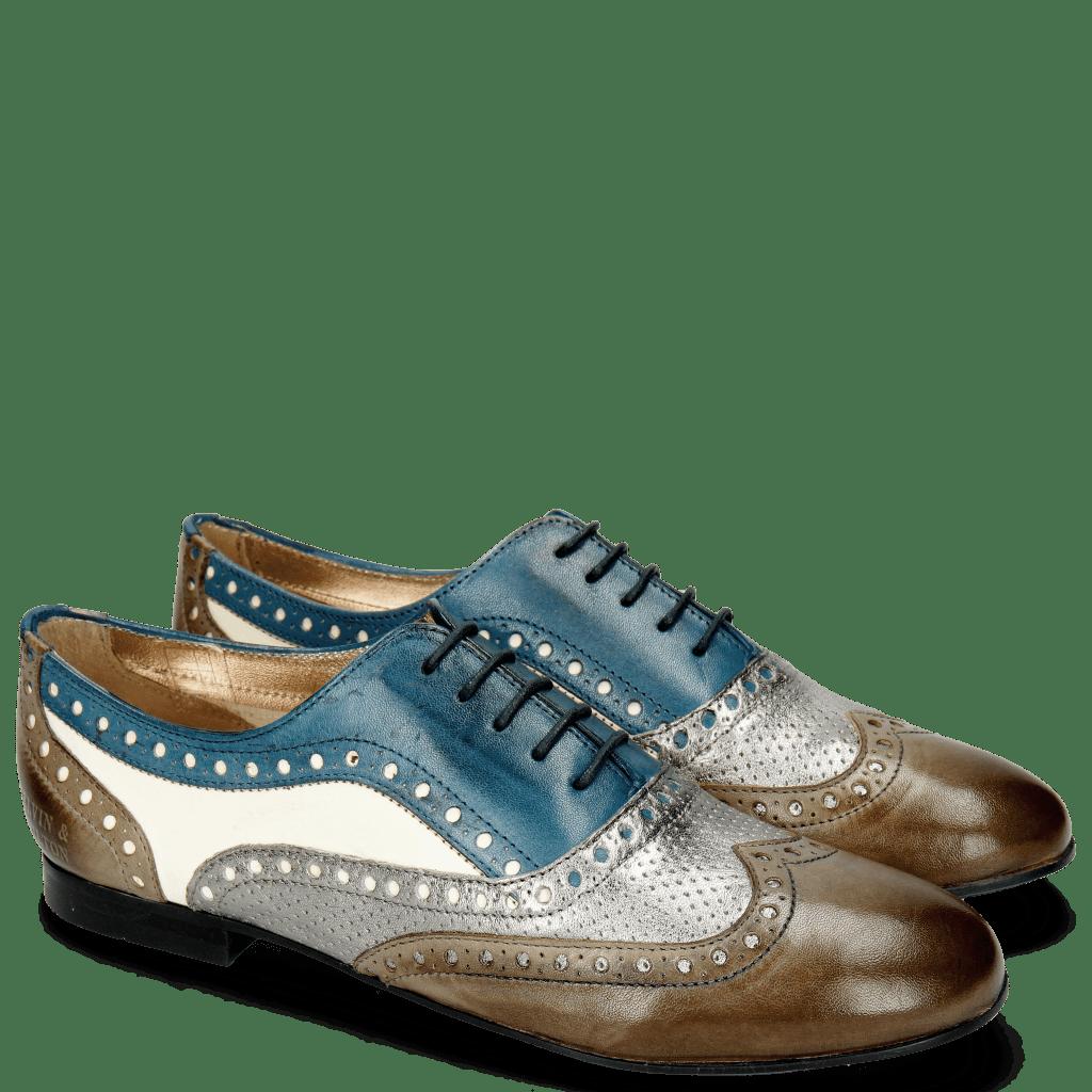 Oxford shoes Xia 2 Rio Smoke Perfo Steel Mid Blue White