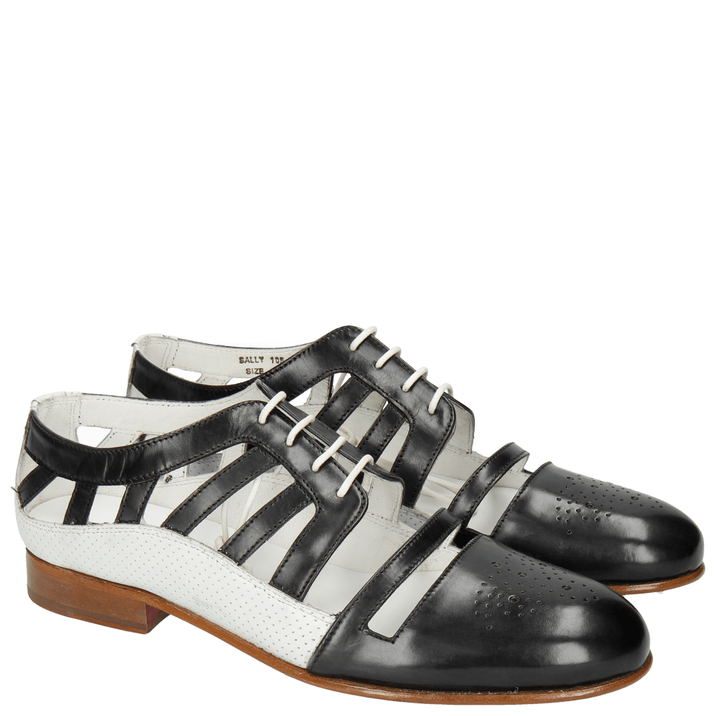 Oxford shoes Sally 105 Black Nappa Perfo White