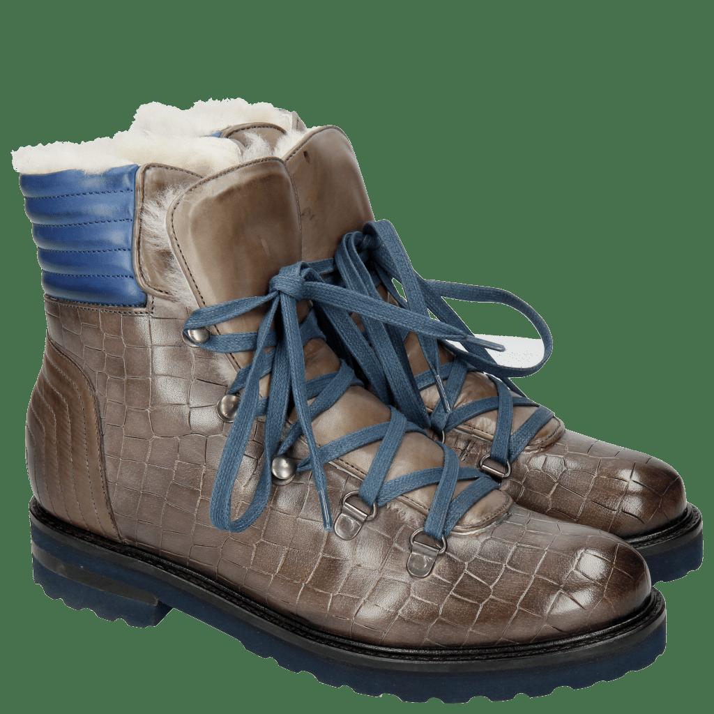 Ankle boots Bonnie 10 Crock Stone Summer Mid Blue Full Fur Lining Aspen Navy