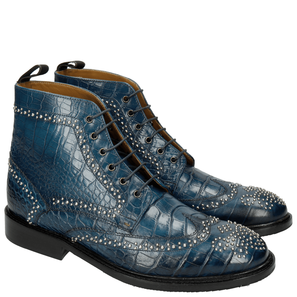 Ankle boots Matthew 7 Croco Mid Blue Rivets