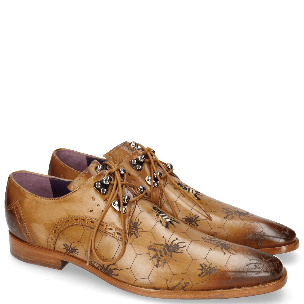 Derby shoes Elvis 42 Tan Embroidery Bee