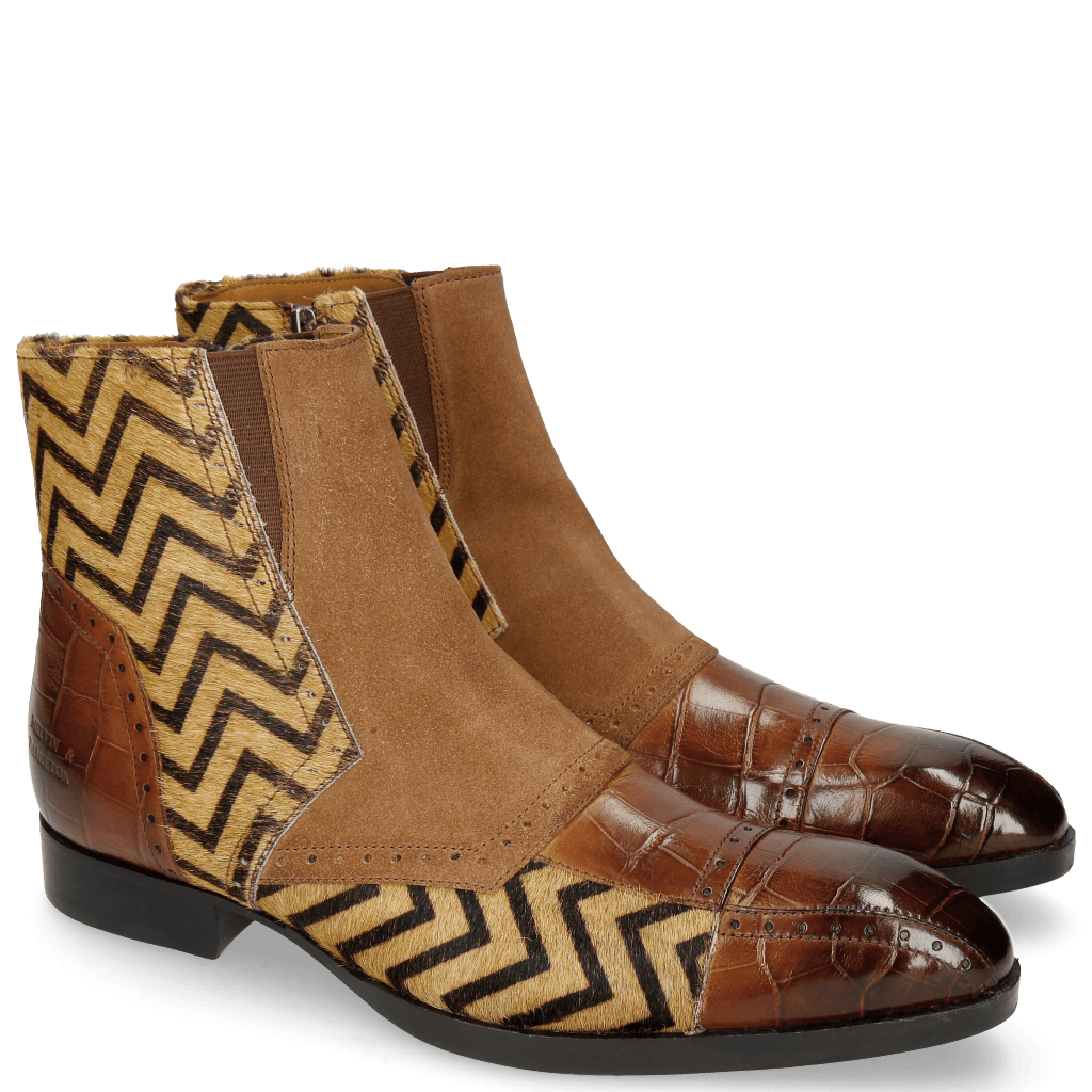 Ankle boots Ricky 11 Big Croco Wood Hairon Drive Way Suede Pattini Tan