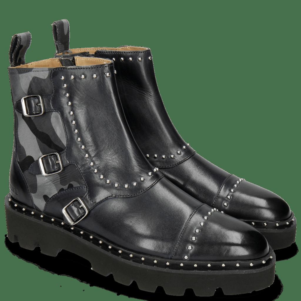 Ankle boots Susan 45 Navy Textile Camo Metallic Blue Loop Rivet
