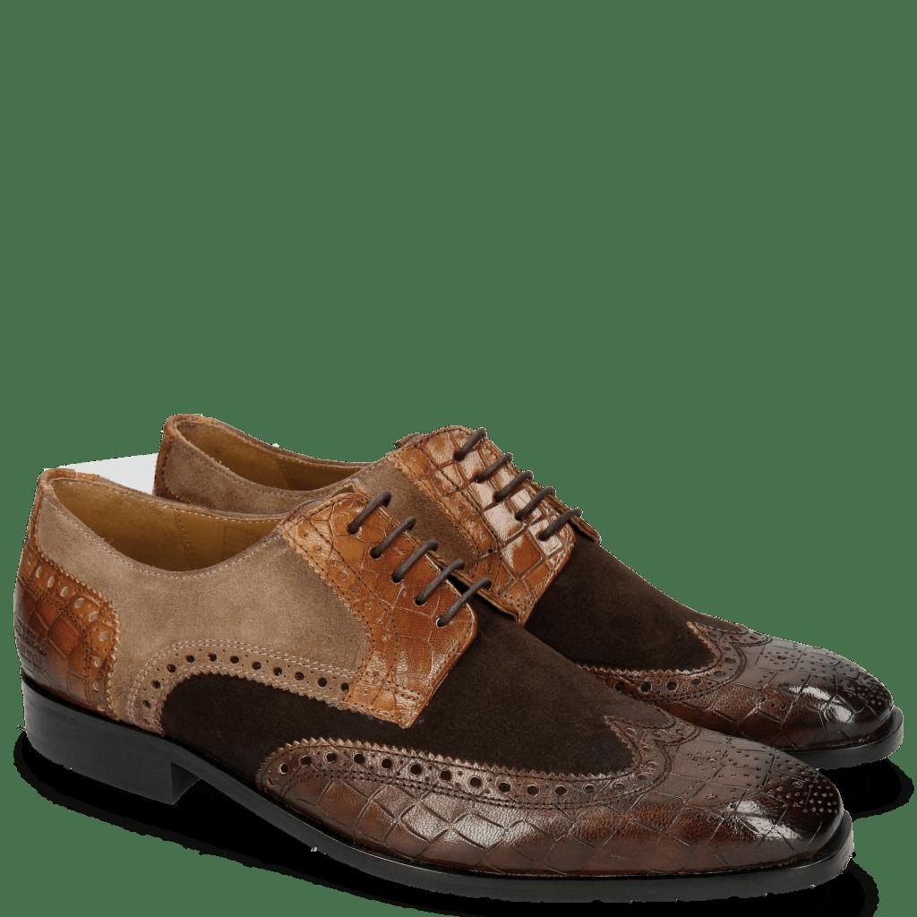 Derby shoes Rico 16 Venice Crock Dark Brown Wood Suede Pattini Brown Cognac