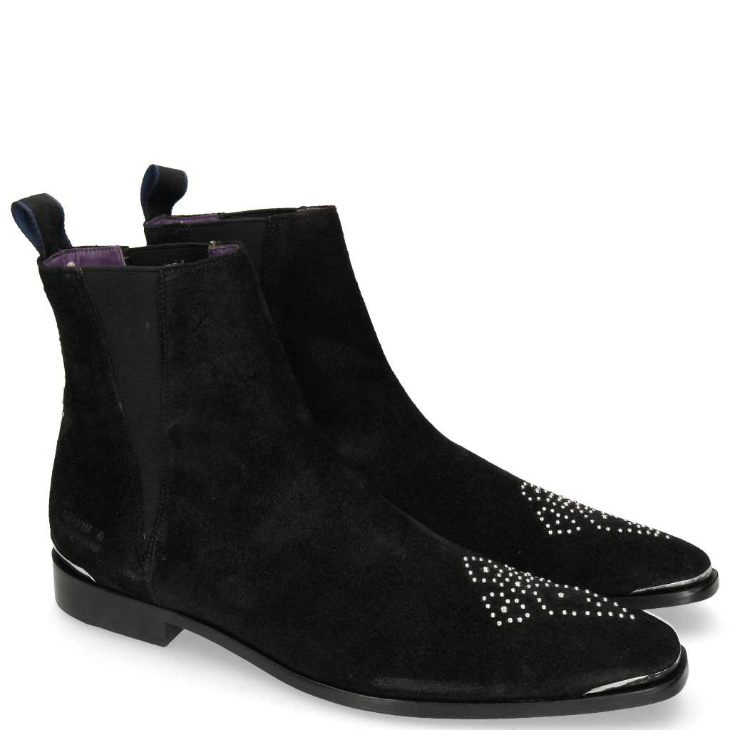 Ankle boots Elvis 44 Suede Patinni Black Rivets