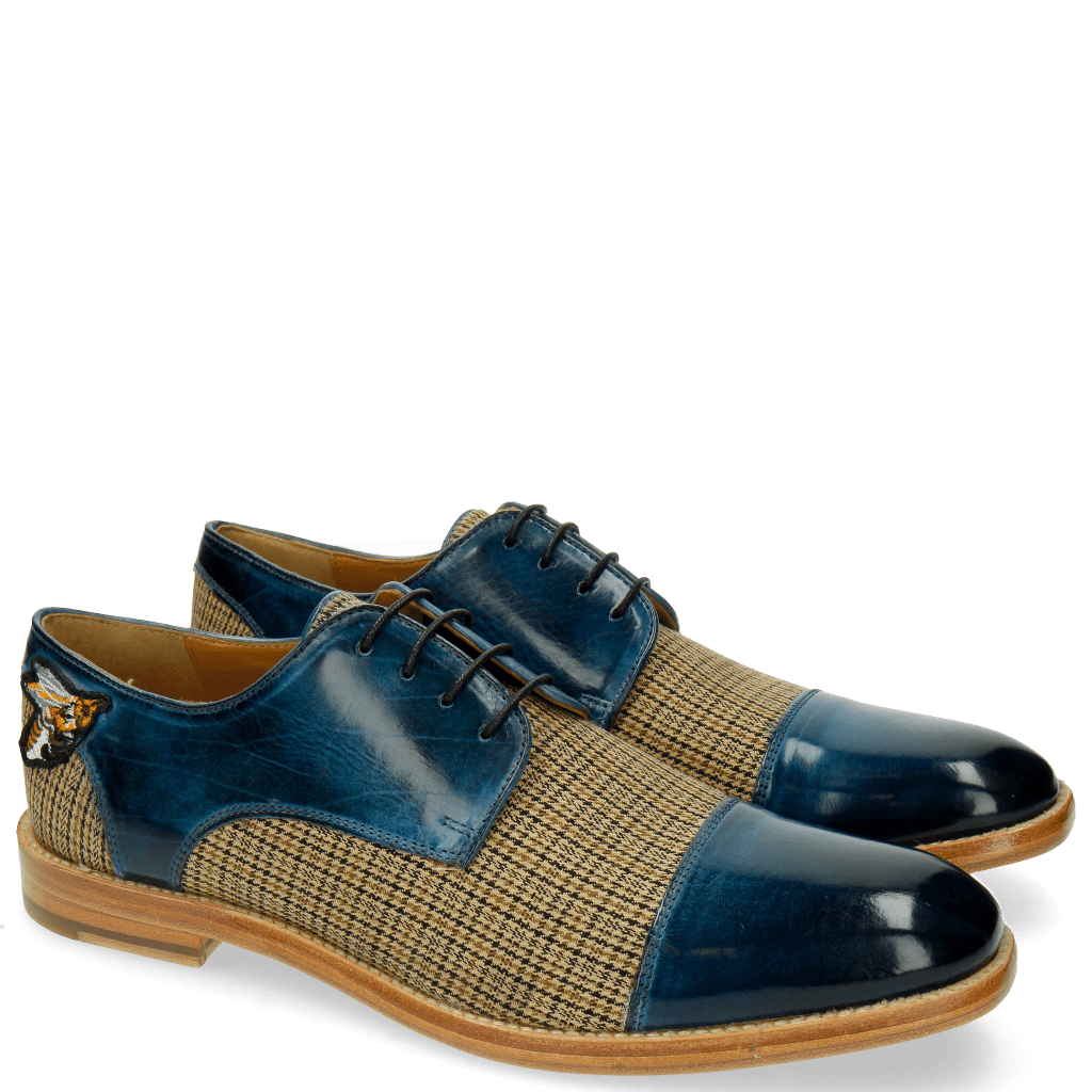 Derby shoes Eddy 11 Textile New England Mid Blue
