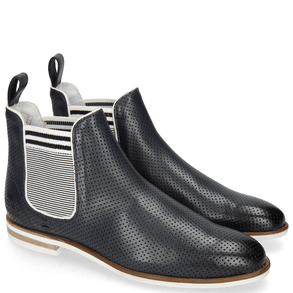 Ankle boots Susan 10 Nappa Glove Perfo Deep Navy Elastic Oxford Navy